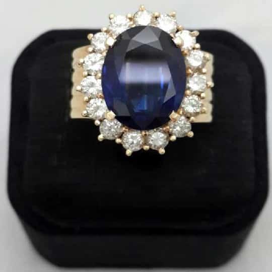 流當品-鑽石-戒指-白K金台-主鑽: 藍寶石