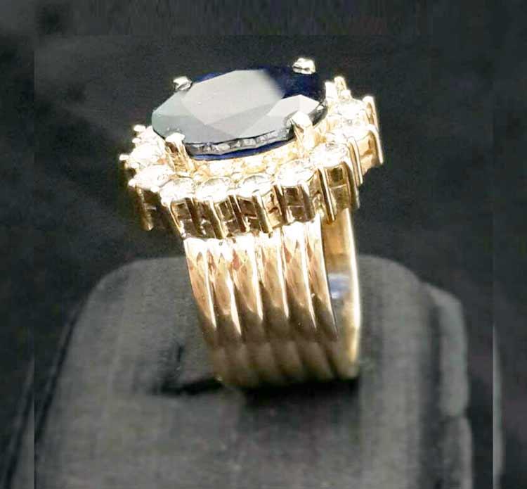 高雄-流當品拍賣會 藍寶石-鑽石-戒指-白K金台