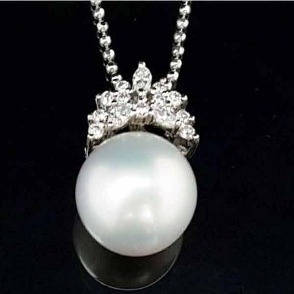 高雄南洋珍珠項鍊,珍珠15m,鑲鑽鍊