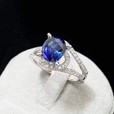 高雄流當品 斯里蘭卡天然藍寶石女戒指