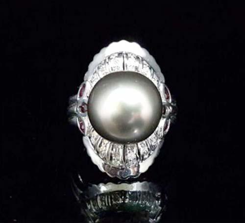 天然南洋 黑珍珠戒指