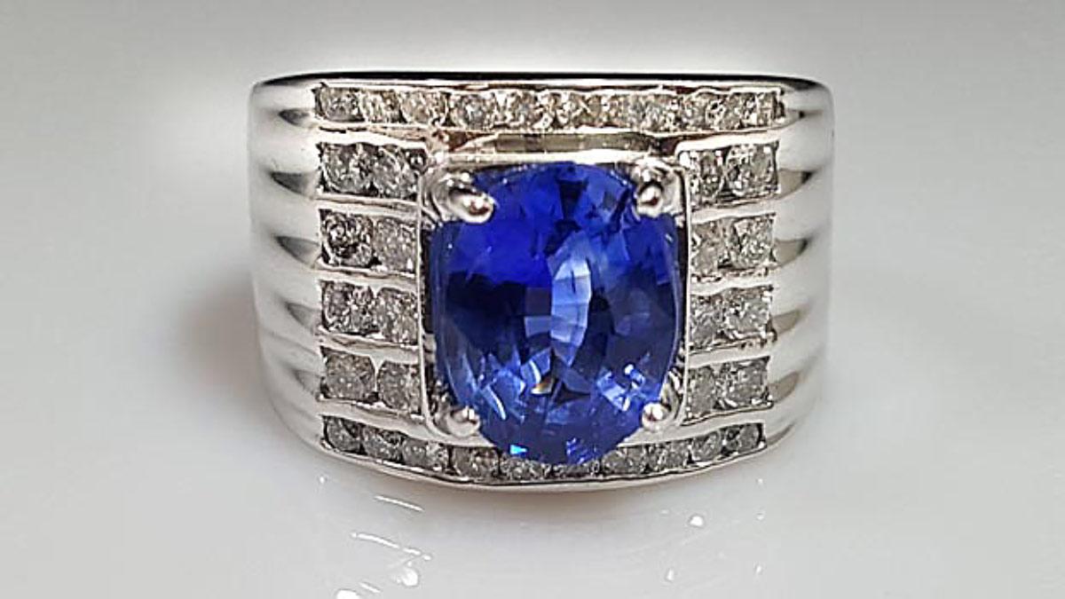 藍寶石男戒指 藍寶石 3.07ct |戒台18k金 鑽石3.9ct|8折回收含證書