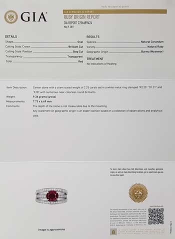 GIA 紅寶石戒指 證書