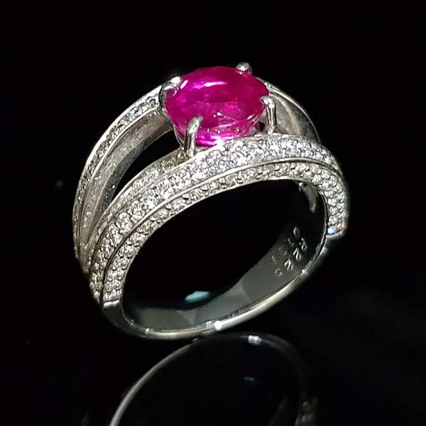 天然無燒紅寶石戒指