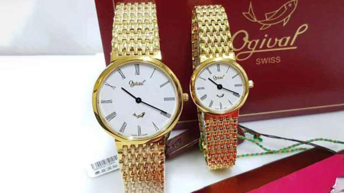 Ogival 愛其華 享受生活時尚 男女金色對錶 全新品