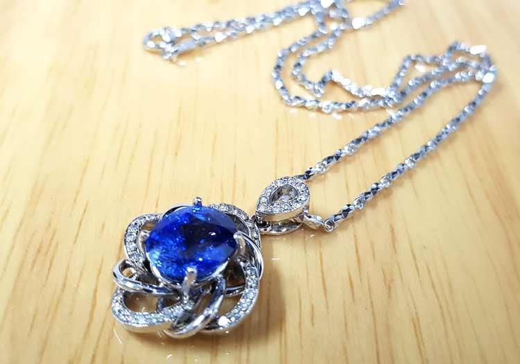 gia天然藍寶石項鍊